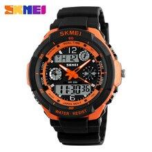 Skmei 0931 hombres de doble pantalla de calendario de cuarzo resistente al agua relojes de pulsera cronógrafo de la alarma led digital relojes deportivos relogio masculino