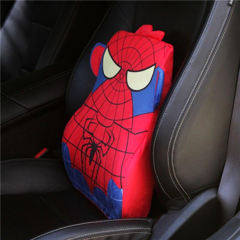 Bande dessinée spiderman voiture des supports de taille coussin mémoire coton en peluche siège dossier lombaire oreiller de voiture housse de siège accessoires oreillers