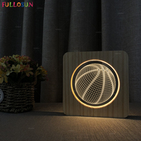 LED Wood 3D Night Light Nordic Style Wooden Lamp Basketball Model Acrylic Table Lamp as Household Decoration