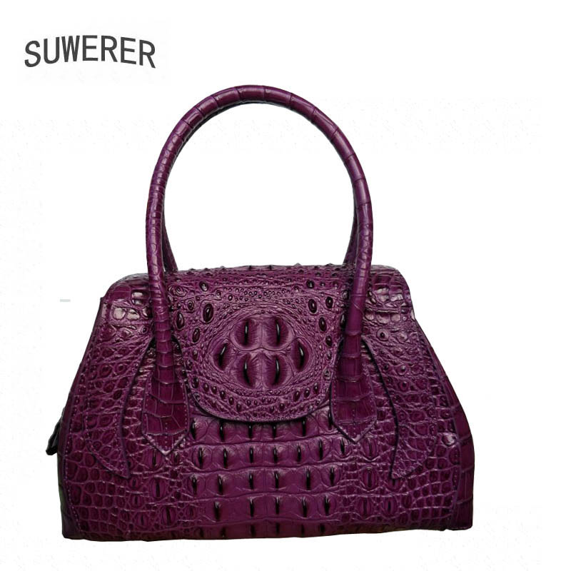 SUWERER Superior cowhide genuine leather tote women handbags Embossed crocodile pattern Fashion luxury wings bag crocodile pattern tote bag with purse
