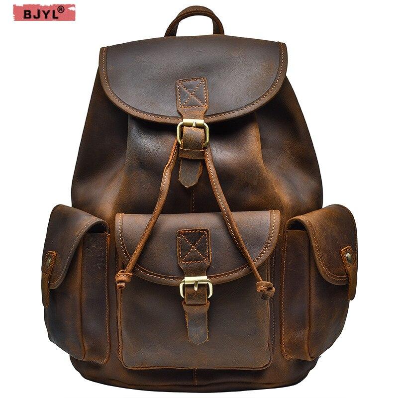de9d9174bbbf BJYL Для мужчин рюкзаки Винтаж классический ручной работы первый слой crazy  horse кожа Для Мужчин's wo