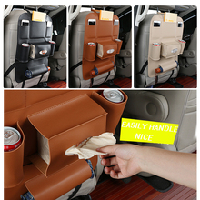 1X Car Seat Back Cover Storage Organizer Bag Universal PU Leather Multifunction Box Stowing Tidying Pocket