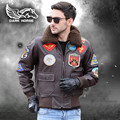 FREE SHIPPING 2017 Men Top Gun Genuine Leather Pilot Jacket Fur Collar Europe Plus Size XXL Real Sheepskin Men Winter Warm Coat