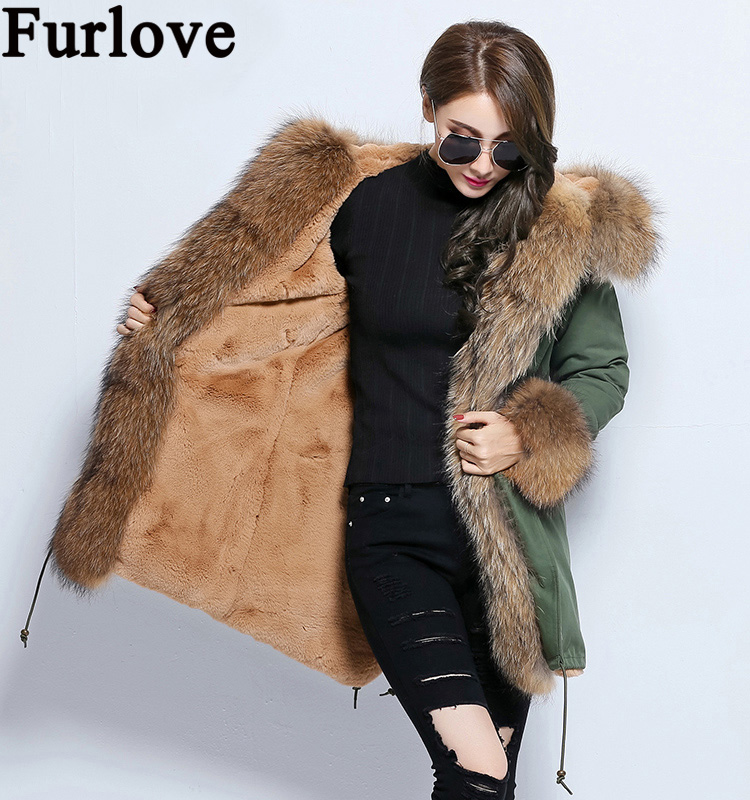 Furlove 2016 Winter New Women Large Raccoon Fur Collar Hooded Coat Army Green Black Parkas Outwear Detachable Winter Jacket 2017 winter new clothes to overcome the coat of women in the long reed rabbit hair fur fur coat fox raccoon fur collar