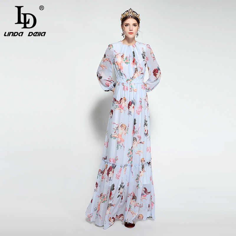 e563d1d71391 ... LD LINDA DELLA 2019 Runway Maxi Dress Women's Long Sleeve Casual  Bohemian Holiday Chiffon Angel Pattern ...
