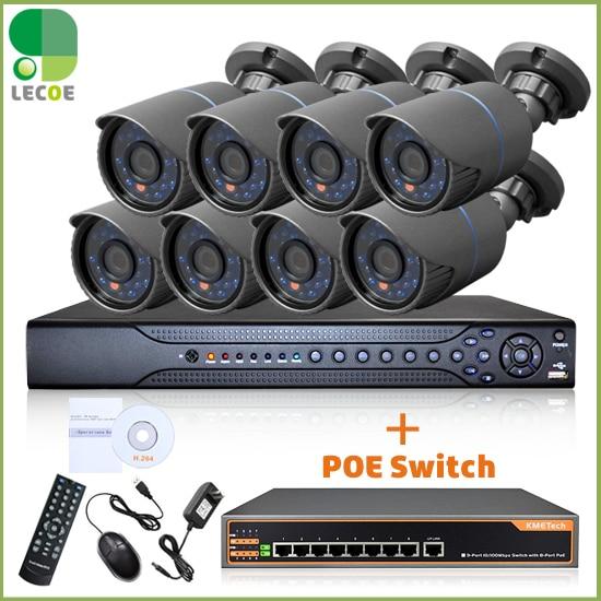 P2P mini IP 720P POE outdoor surveillance camera 16CH 2 Sata NVR+8Ch POE Switch CCTV security camera POE system цены