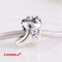 Fits Pandora Charms Bracelet của Ông Già Noel Stocking Vít Đề Charm Hạt Authentic 925 Sterling Silver Bạc Trang Sức Bán Buôn LW223