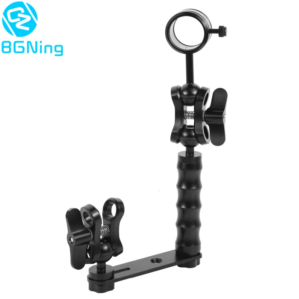 Diving Light Arm Handle Grip Ball Head Adapter Butterfly Clip Mount Bracket Frame Kit Underwater Sports DSLR Cameras Accessories