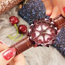Relogio Feminino  Watches Women Fashion Watch 2019 Leather Belt Casual Diamond Purple Quartz Tide Buckle