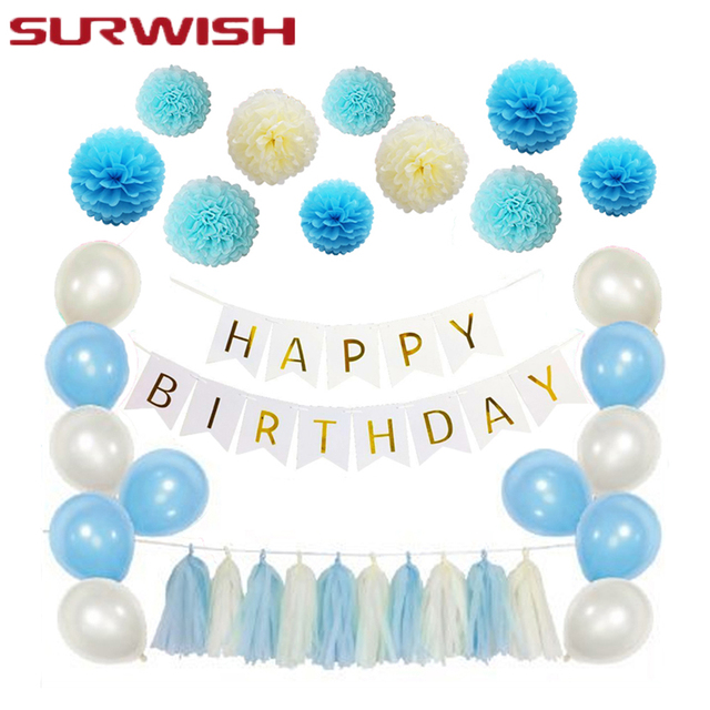 surwish handmade tissue paper ball paper tassel garland happy birthday streamer balloon blue style birthday party