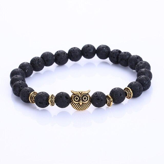 2017 New Fashion Owl Natural Stone Beads Bracelet & Bangle for Men Women Stretch Yoga Lava Stone Jewelry  Pluseras homme