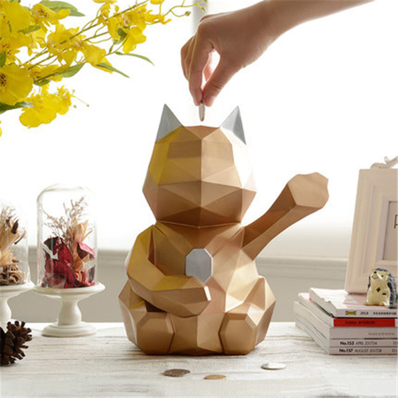Geometric Cats Money Banks Statue Money Drawing Animal Piggy Bank Resin Craftwork Home Living Room Decoration L3002