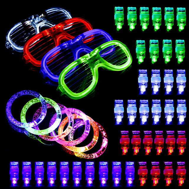 50pcs Light Up Led Glow Party Favor Supply Finger Lights Flashing Gles Neon Bracelets