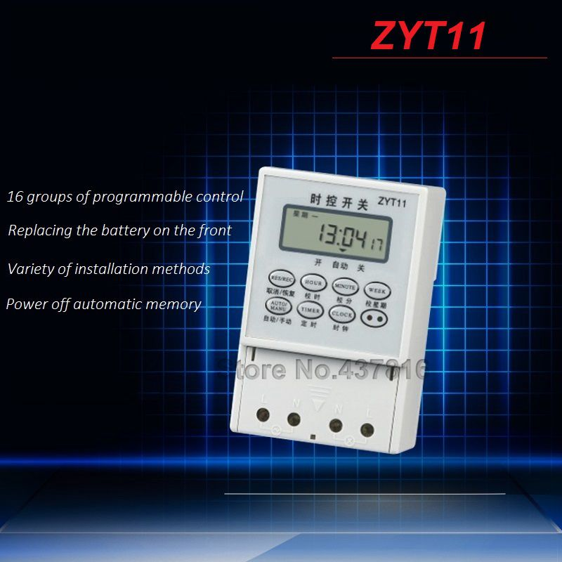 AC 220V Micro-computer Time Control Switch Programmable Timer Switch Relay Control ZYT11 sinotimer 12v ac dc control power timer 50 hz 24 hours timer switch control high quality time relay electronic instrument