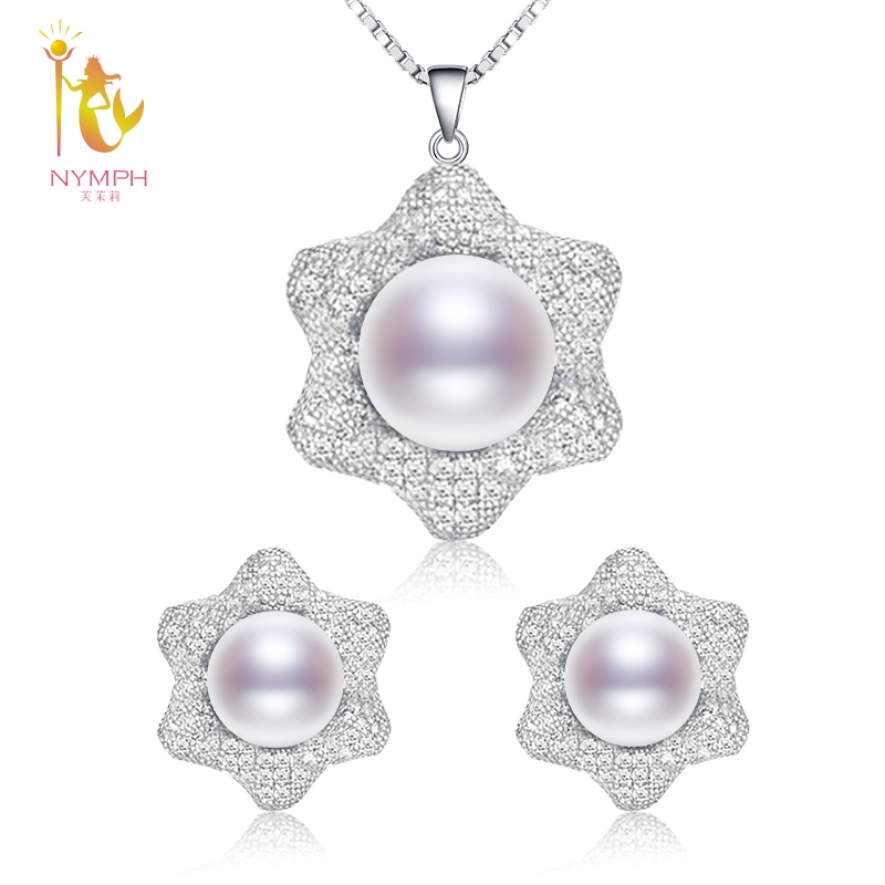 NYMPH Natural Freshwater Pearl Jewelry Sets For Women Genuine Earrings Necklace Pendant Big Jewelry Gift For Party Flower T305 pair of stylish flower big faux pearl reversible earrings for women