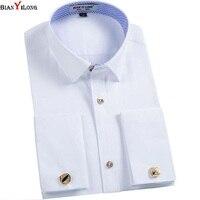 BIANYILONG Brand France Cufflink Formal Dress Shirts Long Sleeve Regular Tailoring Solid Men S Tuxedo Shirt