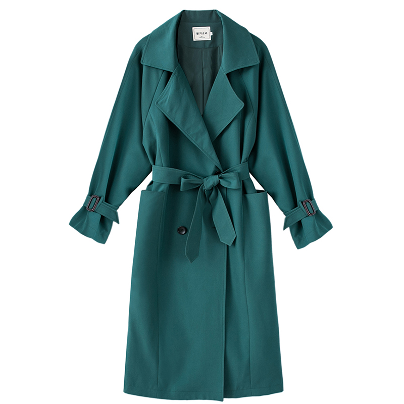 2018 Women Solid Green Medium Long Trench With Belt Female Double Breasted Loose Coat Lightweight Full