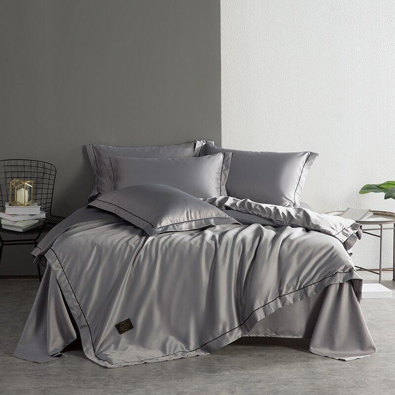4 pièces reine roi taille gris blanc bleu lavé soie ensemble de literie ensembles de lit housse de couette drap de lit/linge ensemble doux literie