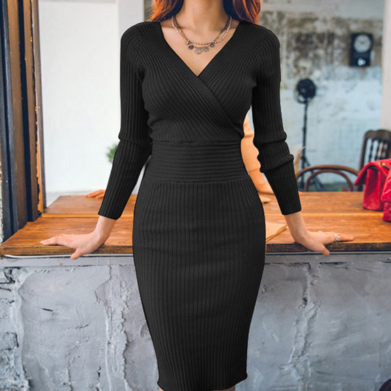 Winter Knitted <font><b>Dress</b></font> Women Slim <font><b>Pullover</b></font> Clothing V Neck Sweater Bodycon Korean Long <font><b>Sleeve</b></font> Party <font><b>Dress</b></font> Black <font><b>Sexy</b></font> Vestidos image