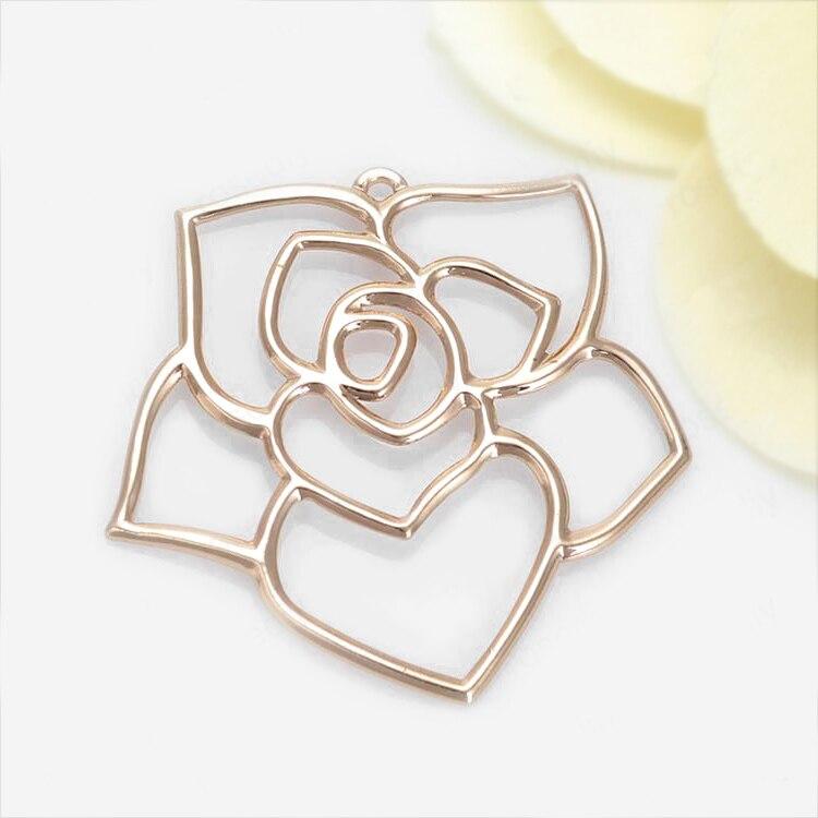 4 PCS 35x35 MM 24 K Champagne Cor de Bronze Banhado A Ouro Big Rose Pingentes Encantos Diy de Alta Qualidade acessórios de jóias