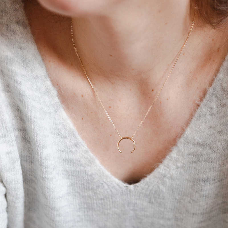 Korean Fashion Classic Minimalist Stainless Steel Necklace Ladies Moon Pendant Long Gold Necklace Jewelry 2019