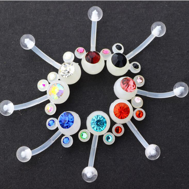 Us 13 88 30pcs Lot Clear Soft Plastic Double Crystal Belly Ring Bioplast Belly Button Rings Mixed Color Body Jewelry Navel Piercing On