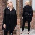 Novo 2016 Outono inverno plus size roupas femininas dos desenhos animados applique patchwork com capuz trench coat feminino outwear solto roupa casual