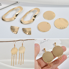Copper plated 18K gold shaped oval fan-shaped multi-hanging porous round piece DIY earrings accessories