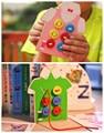 Монтессори Детские Игрушки 2 Вида Носить Кнопку Деревянные Игрушки Развивающие Threading Совета Бисера Блоки Ребенок Подарок На День Рождения