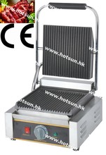 Commercial Use Non-stick 220v Electric Ribbed Iron Plates Press Machine Contact Grill Pannini Maker