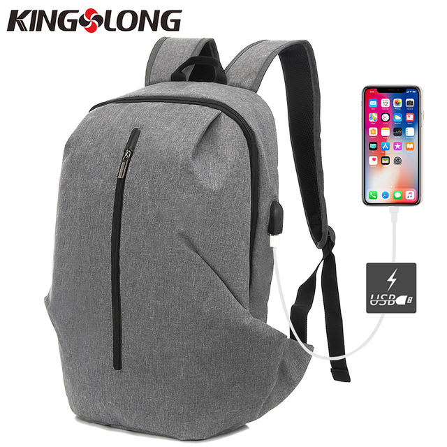 982a2846e15d KINGSLONG New Style USB design Zipper Bag Men Male Student Backpack Weekend  Mochila Men Casual Gift Bag 2 Colors KLB180403-5