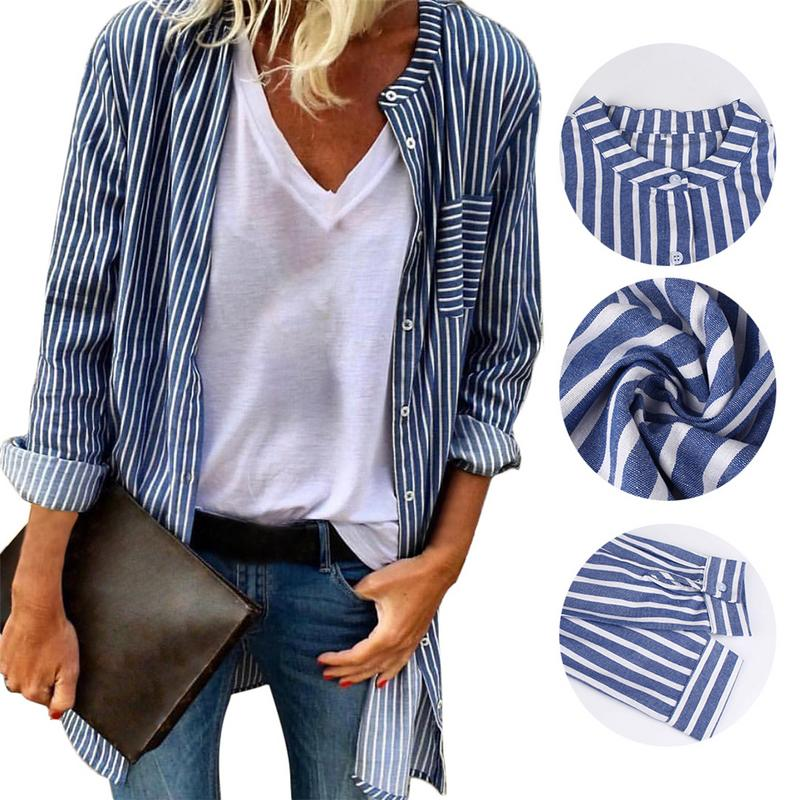 2018 New Women Tops Blouses European And American Personality Trend Cardigan Jacket Long-sleeved Striped Shirt Cardigan Jacket
