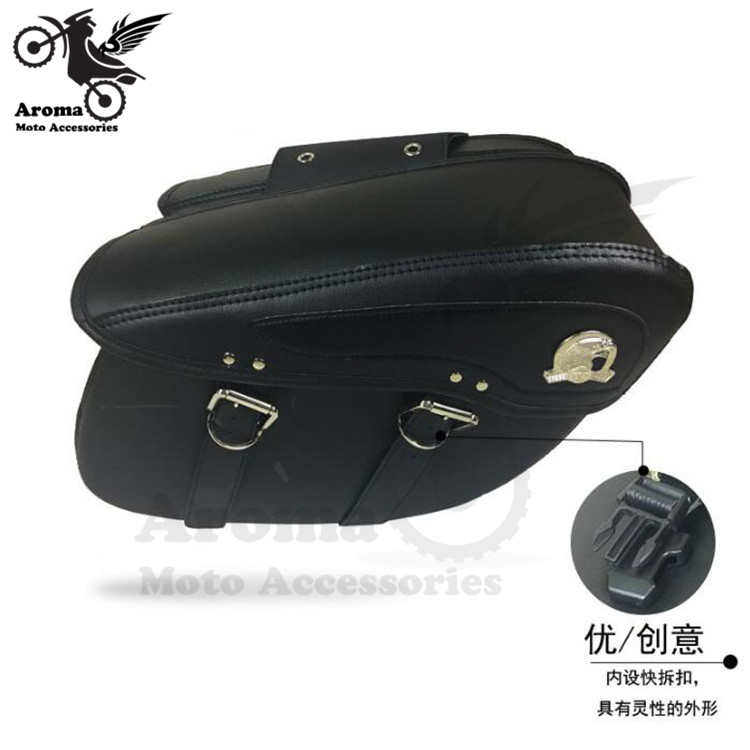 1 pair Motorcycle Left Right Saddle Side Bags Universal Motorcycle Saddlebags Cruiser Side Tool Pouches Side Bags for Harley