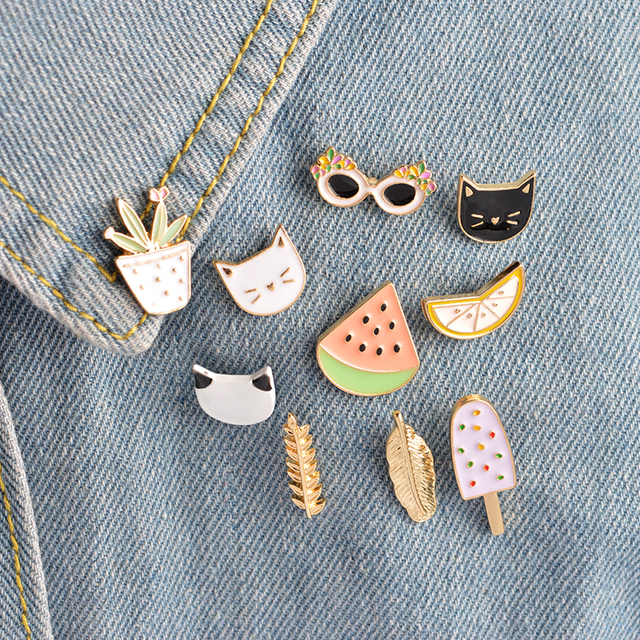 10 pcs/set Fashion Brooch Pins Button Cat kitten Lemon Leaves Potted plants Wate