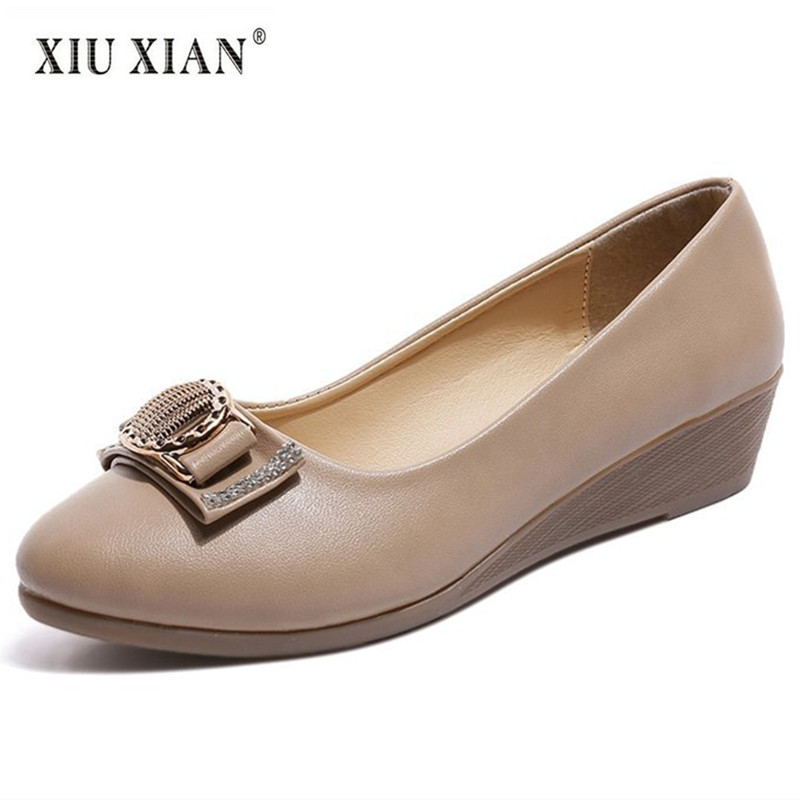 2018 New Arrived Elegant Wedges OL Women Working Shoe PU Leather Shallow Mid Heel Fashion Office Lady Pumps Non Slip Casual Shoe 2018 summer new arrived strap design wedges women sandals peep toe comfort mid heel sexy lady sandal fashion student casual shoe