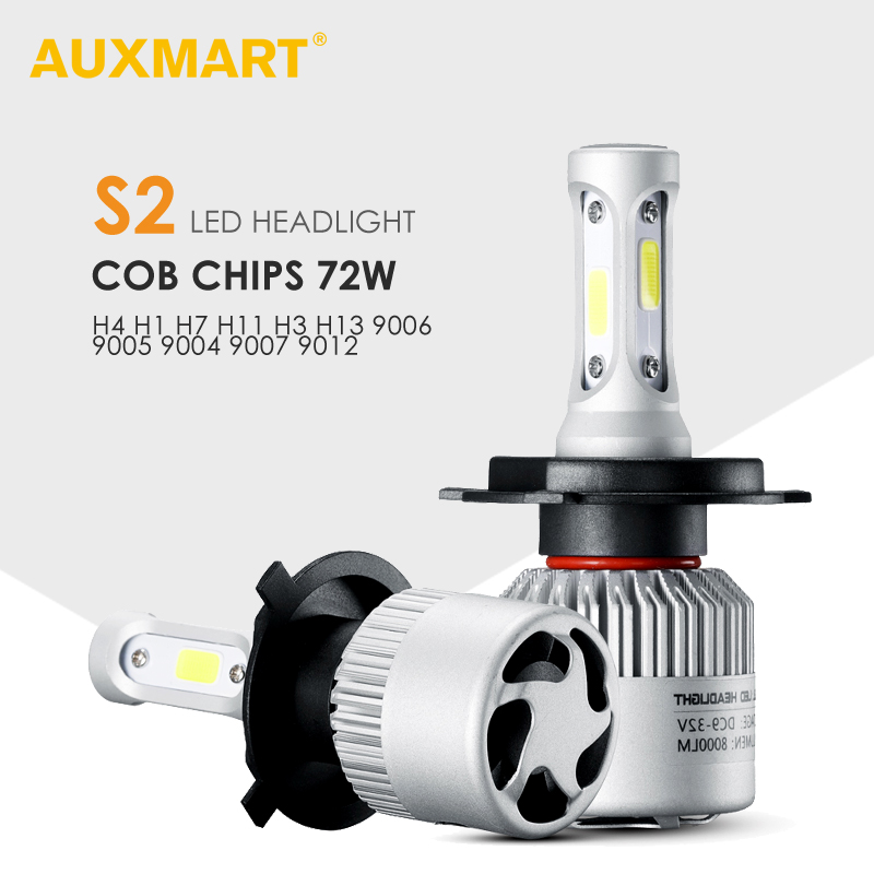 AUXMART 2x H4 H13 9004 9007 Hi-Lo Beam LED Headlight Car Bulbs 72W 6500K COB 9012 9005 9006 H1 Led H7 Head Bulb H3 H11 Fog lamps super bright car led headlight kit h4 h13 9007 9004 hi lo h7 h11 h1 h3 9005 9006 cob chips replacement bulbs 6000k