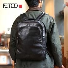 AETOO Mens shoulder bag leather simple casual business backpack head cowhide Big travel computer