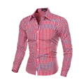 Fashion Plaid Shirts Men Long Sleeve Slim Fit Funny Shirt Mens High Quality Social Clothing Man Masculina Camisas 7 Colors 5843