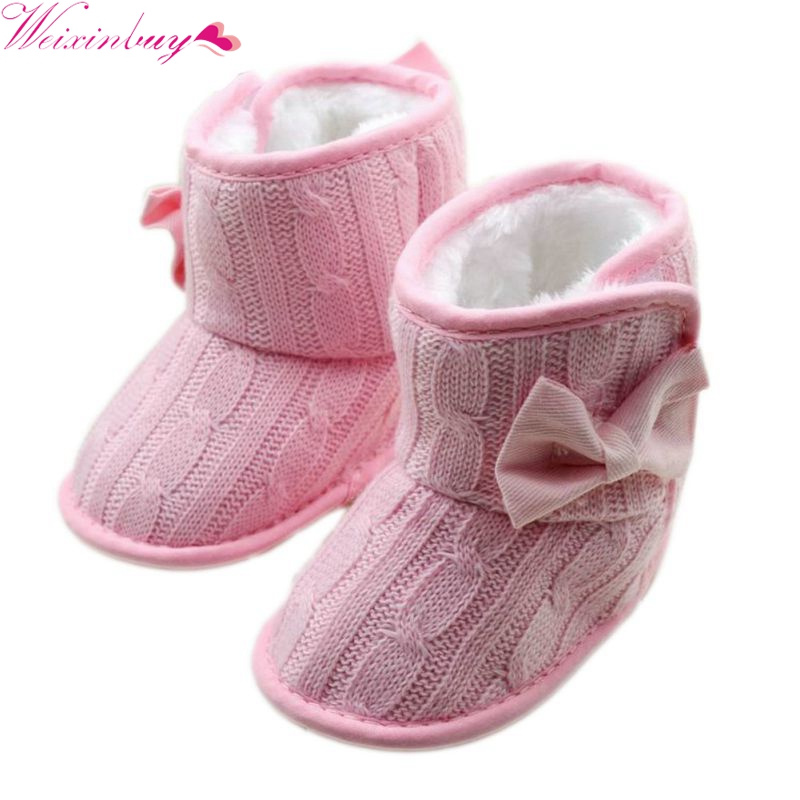 New Winter Toddler Fleece Snow Boot Baby Shoes Infant Knitted Bowknot Baby Warm Shoes Red, Pink, Gray, Rose