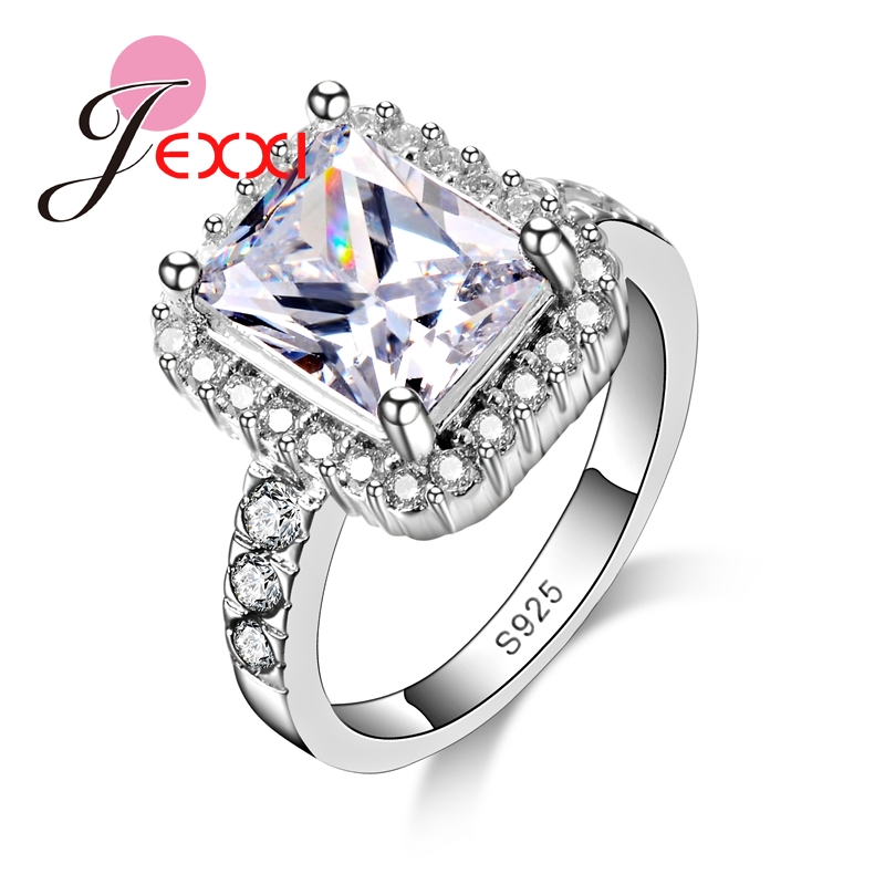 New 2020 Arrivals Women Square Cut Finger Rings Engagement Wedding Cubic Zirconia Trendy 925 Sterling Silver Jewelry Accessories