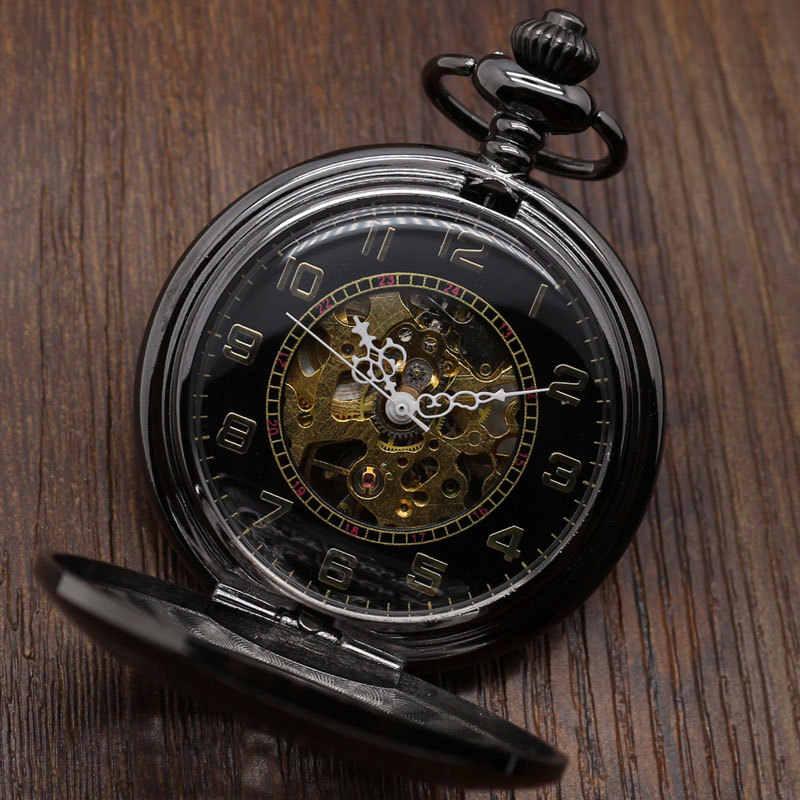 Vintage noir classique montres noir en acier inoxydable plein chasseur hommes remontage à la main mécanique montre de poche Steampunk femmes cadeaux