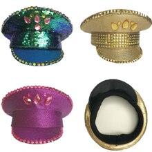 Яркие ломтики британских шляпы для выступлений Золотая Роза сине-зеленая кнопка блестками сценическое шоу панк хип хоп военная шляпа для взрослых мужчин и женщин