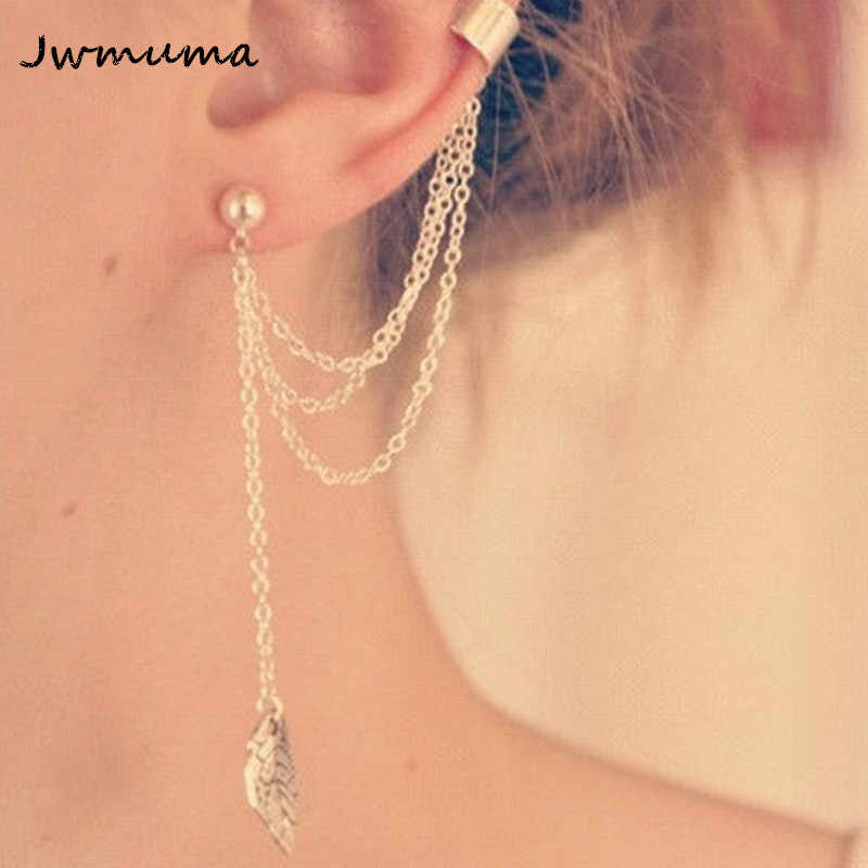 1pc New Punk Ear Cuff Clip On Earrings Mujer Brincos Girl Leaf Chain Long Tassel For Women Jewelry Boucles Pendientes Bijoux
