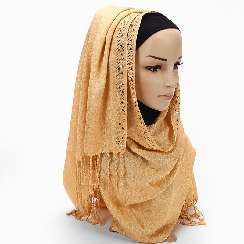 H1352 new style shimmer muslim long scarf with rhinestones fast delivery can choose colors