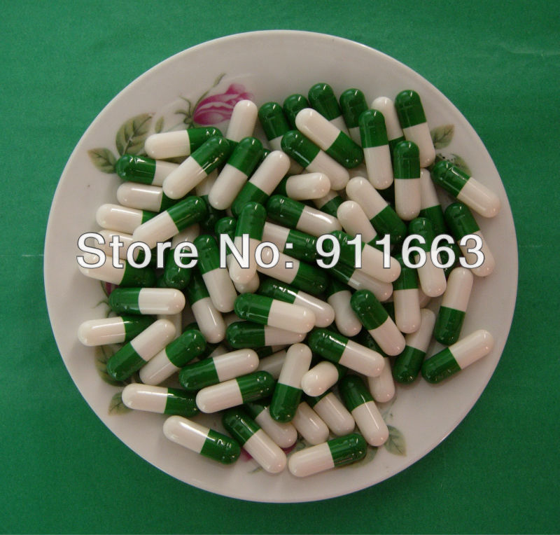 00 5 000pcs Dark Green White colored Empty Capsule Hard Gelatin Empty Capsule 00 joined or