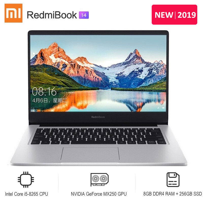 2019 Xiaomi Redmibook 14 Laptop Intel Core I5-8265U / I7-8565U NVIDIA GeForce MX250 8GB DDR4 256GB/512GB SSD Ultra Thin Notebook
