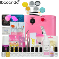 Ibcccndc Nail Art Set 36W UV Lamp 8 Color 7ml Nail Gel Base Top Coat Polish Remover Manicure Tools Nail Tips Mirror Powder Kit