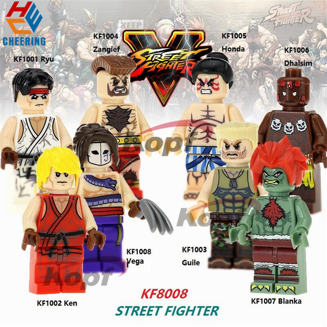 Single Sale Building Blocks Ryu Zangief Honda Dhalsim Ken Vega Guile Blanka Figures Bricks Action For Children Gift Toys KF8008