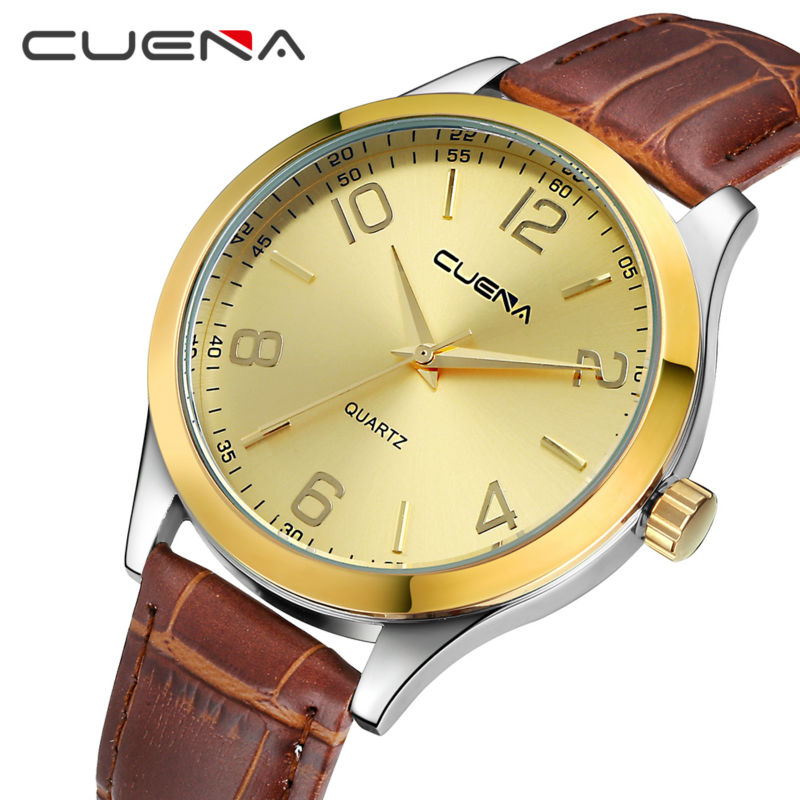 CUENA Brand Men Clocks Quartz Watch Reloj Genuine Leather Fashion Watches Waterproof Relogio Masculino Male Wristwatches 6615 2017 new top fashion time limited relogio masculino mans watches sale sport watch blacl waterproof case quartz man wristwatches