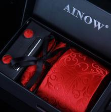 Business Tie + Handkerchief + Cuff links + Clip + High-Grade Gift Box
